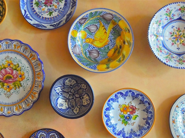 colorful plates decorate Zatar's walls. Photo: Anna Mindess